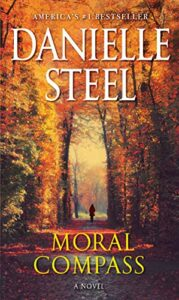 A pathway bordered by tall fall trees with bright orange leaves. At the distant end of the pathway is the outline of a young woman. The bright orange leaves above her make a sort of ceiling. The title is below her and reads Moral Compass