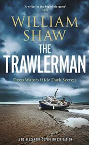An abandoned boat sits on the dried-out beach amongst puddles of water. Above it, the sky is filled with darkening clouds. The title, The Trawlerman, is in white.